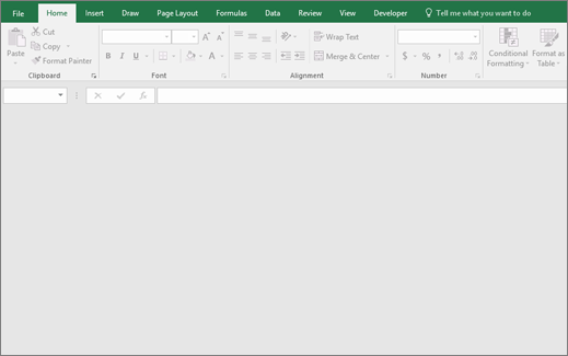 Tomt Excel-vindue med knapperne tilgængelig; Ingen projektmappe åben.