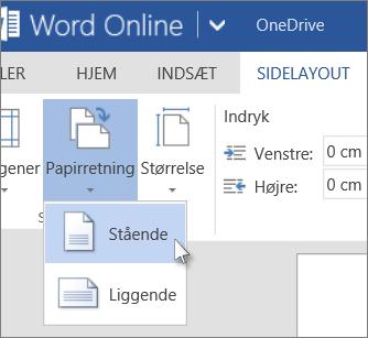 Billede af indstillingen Sidelayout, som du kan bruge til at skifte mellem stående og liggende format i Word Online