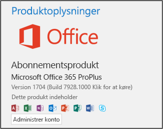 Version og buildnummer under Produktoplysninger
