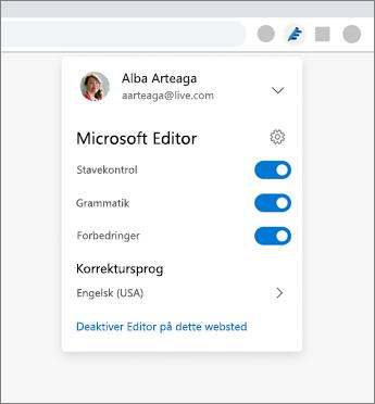 Udvidelse i Microsoft Editor, der viser rullelisten fra en browser med indstillinger til at skifte mellem til og fra