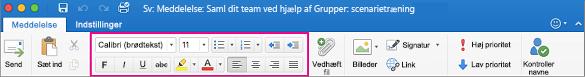 Formateringsindstillinger på båndet i Outlook til Mac
