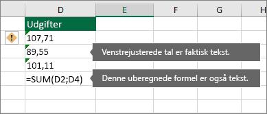 Celler med tal, der er gemt som tekst med grønne trekanter