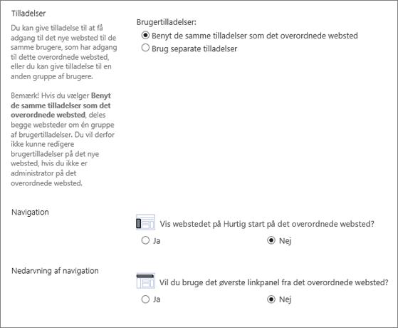 Dialogboks i SharePoint 2016, der viser sektionen om navigation og tilladelse