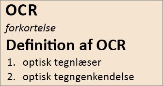 OCR-oversigt