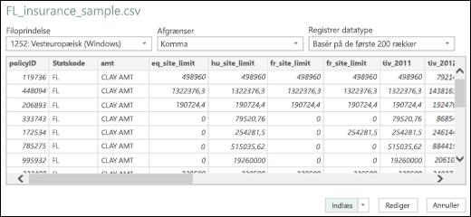 Forbedret Dialogboks til Excel Power BI-tekst-/csv-forbindelse