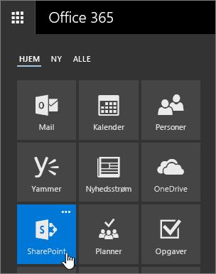 Appstarteren med SharePoint fremhævet.