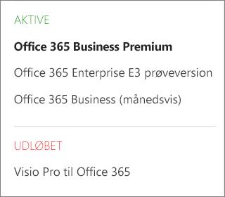Siden Abonnementer i Office 365 Administration, der viser en liste over flere abonnementer, der er grupperet efter status.