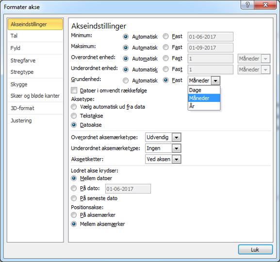 Format akse dialogboksen med fast Base enhed, der er markeret
