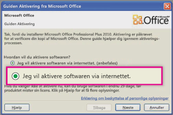 Aktiver softwaren via internettet