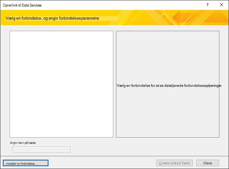 Installere en dataforbindelse til en webtjeneste