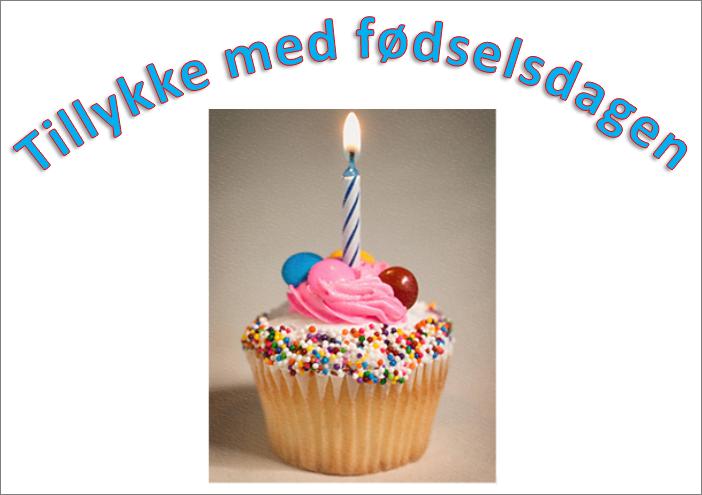 Eksempel på WordArt med ordene Tillykke med fødselsdagen og et billede