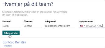Tilføj navnene og numrene på dine teammedlemmer.