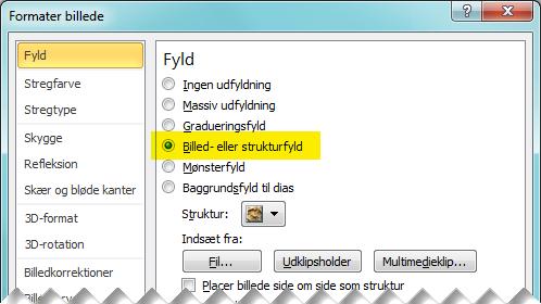 Dialogboksen Formater billede