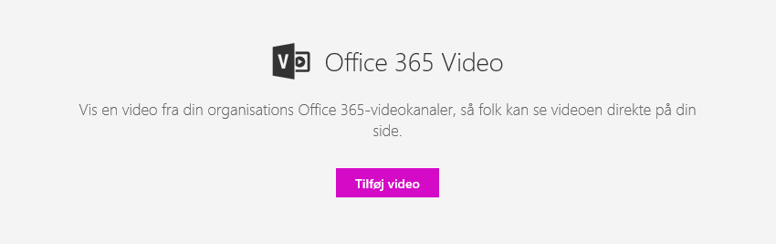 Skærmbillede af dialogboksen Tilføj video i Office 365 i SharePoint.
