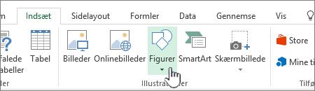 Excel-knappen Indsæt figurer