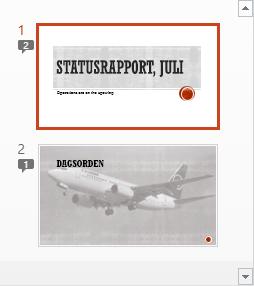 Symboler med tal angiver, at slidene har kommentarer på dem