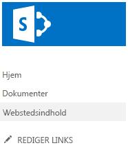 Webstedsindhold i Hurtig start