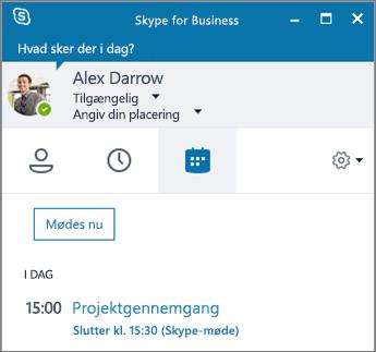 Skærmbillede af Skype for Business vinduet med mødefanen åben.