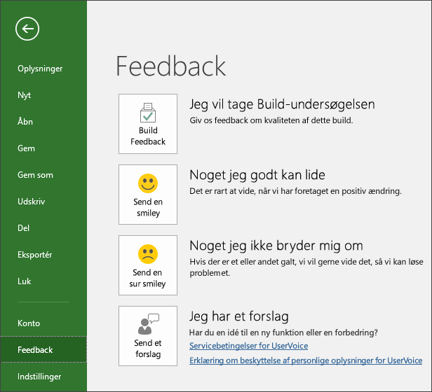 Klik på Filer > Feedback for at kommentere eller komme med forslag til Microsoft Project