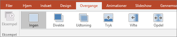 Viser Overgange i menuen i PowerPoint