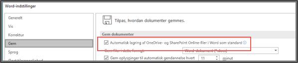 Dialogboksen Filer > Indstillinger > Gem, der viser afkrydsningsfeltet til aktivering eller deaktivering af automatisk lagring