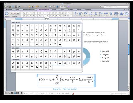 Skærmbillede af ligningsfunktioner