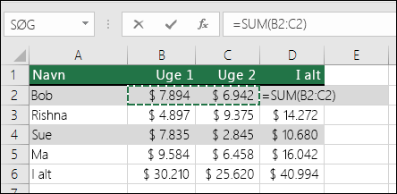 Celle D2 viser Autosum Sum-formlen: =SUM(B2:C2)