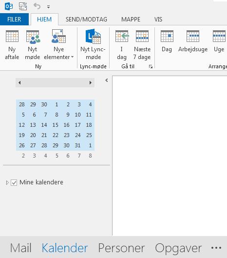 Linket til Kalender er nederst på skærmen.