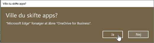 I Windows 10 Edge-browser Skift App-dialog fremhævet med Ja