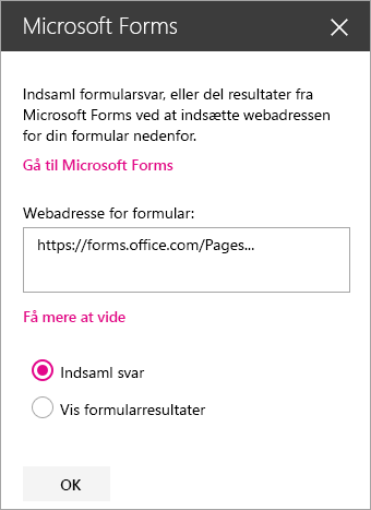 Panel til webdelen Microsoft Forms for en eksisterende formular.