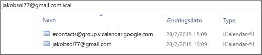 Et billede af hvordan det ser ud, når du har pakket den eksporterede kalender ud.