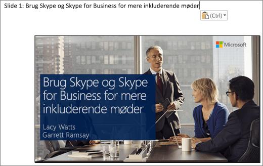 Skærmbillede af det nye Word-dokument, som viser slide 1 med slidetitel. Den slide, der er vist i billedet, indeholder slidetitlen, navne på præsentationsværter og et baggrundsbillede af forretningsfolk omkring et konferencebord.