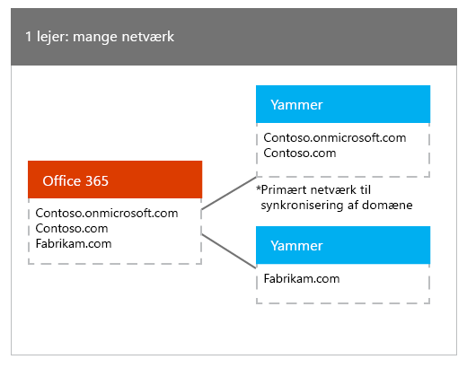 En Office 365-lejer, der er knyttet til mange Yammer-netværk