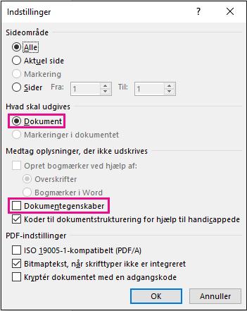 Fjern Dokumentegenskaber for at undgå at dele disse oplysninger i PDF-filen.