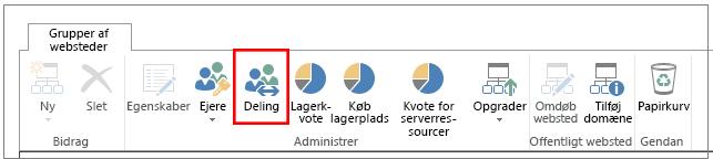 bånd fra SharePoint Online-administrationscenter med knappen Deling fremhævet