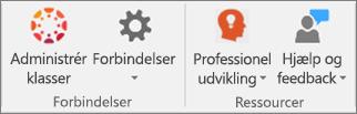 Liste over ikoner, herunder Administrer klasser, Forbindelser,