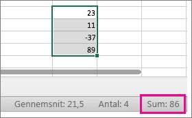 Vælg en kolonne med tal for at se summen nederst på siden