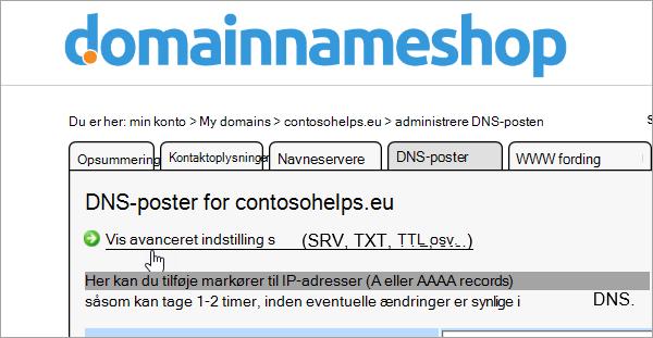 Vis avancerede indstillinger i Domainnameshop
