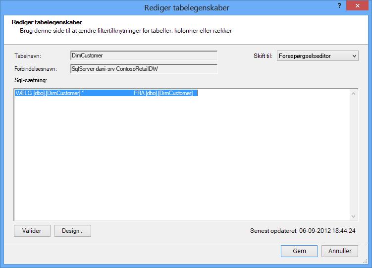 SQL-forespørgsel, der bruger den kortere syntaks, som er standard