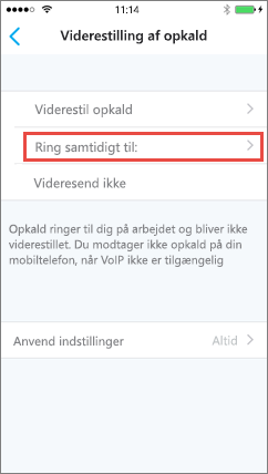 Skype for Business til iOS – skærmbilledet Samtidig ringning