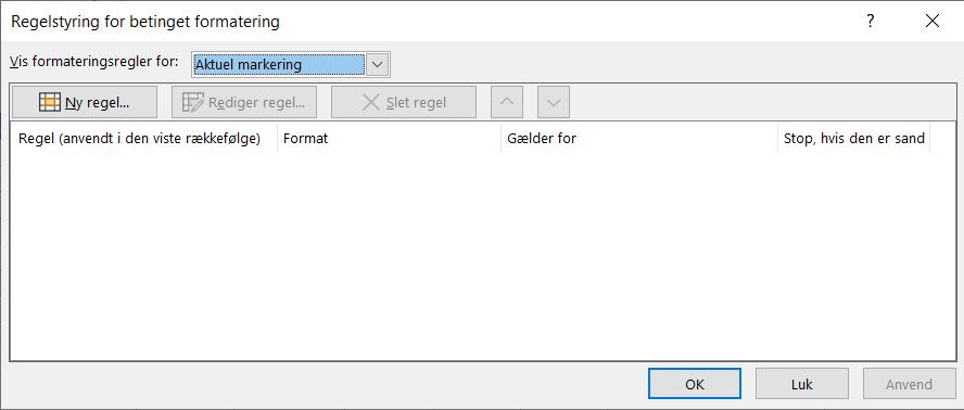 Dialogboksen Regelstyring af betinget formatering vises