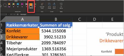 Viser handlingspennen i Excel