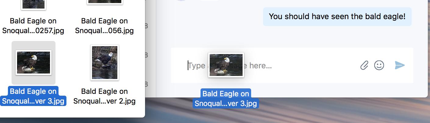 Slip og slippe for at sende en fil i chat