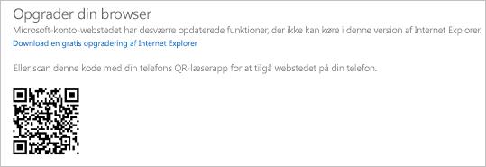 """""""Opgrader din browser""""-meddelelse"""
