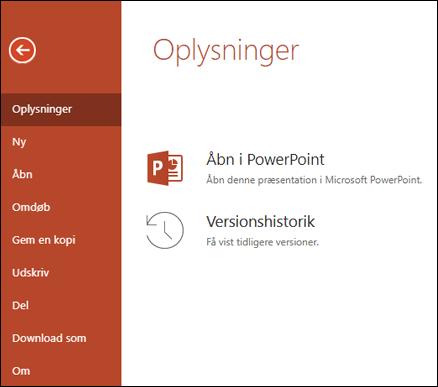 Fanen oplysninger i Office Online, der viser versions oversigts elementet.