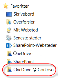 synkroniseret onedrive for business-mappe under favoritter i stifinder