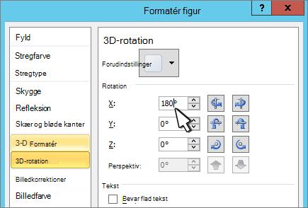 Dialogboksen Formatér figur med 3D X-rotation valgt