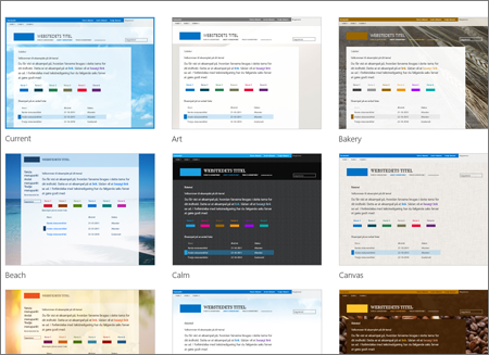 SharePoint Online-side, der viser billeder af webstedsskabeloner