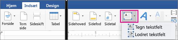 På fanen Indsæt er Tekstfelt fremhævet.
