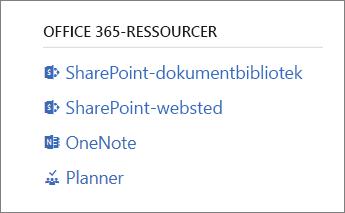 Office 365-ressourcer